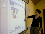Student using interactive whiteboard